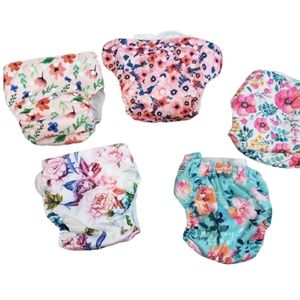 5 Pack Reusable Diapers With White Pads